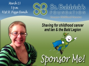Social media advertisement for a St. Baldrick's Foundation volunteer